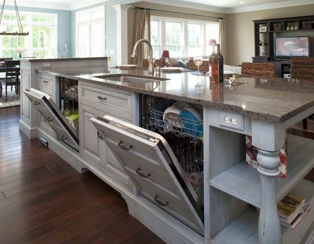 Formal white kitchen with blue island - Mullet Cabinet ...