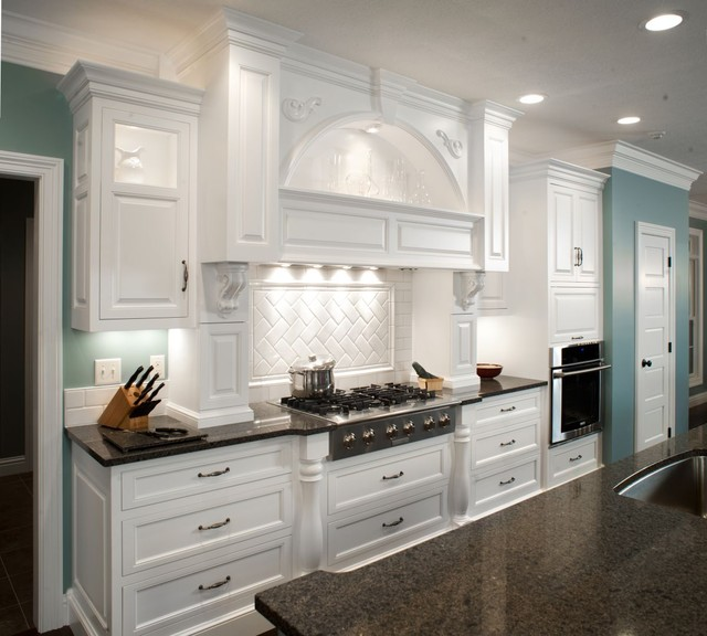 Kitchen With White Cabinets Black Countertops: Formal White Kitchen With Blue Island