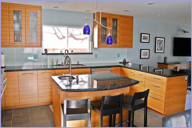 Foster City Teak Kitchen Cabinets Contemporary Kitchen