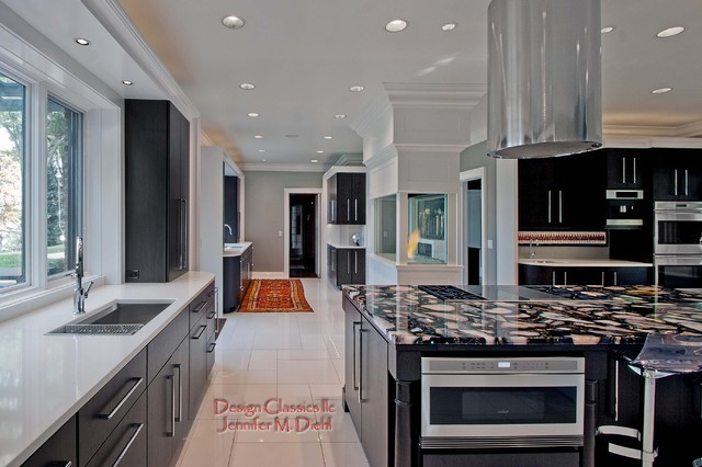 Example of a trendy kitchen design in Cleveland