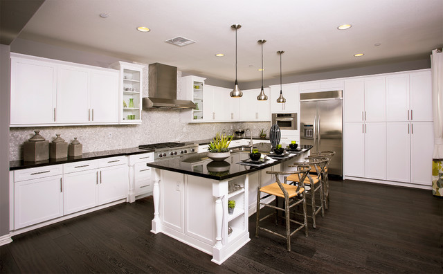 Frameless Cabinetry: Shaker Style Living Spaces Transitional Kitchen