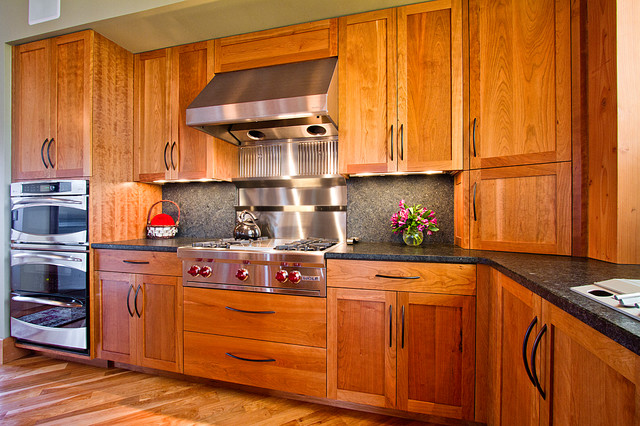 Frameless kitchen cabinetry in cherry rustic kitchen for Kitchen cabinets vermont