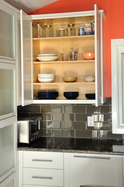 Frameless Wall Cabinet Open Contemporary Kitchen