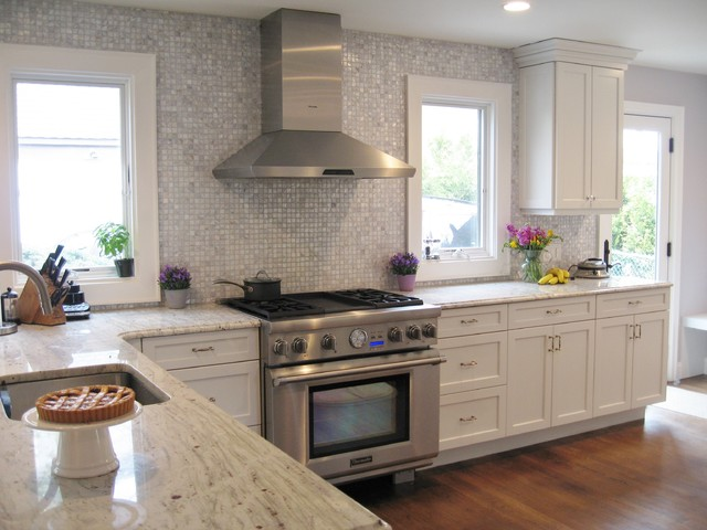 Frameless White Kitchen Transitional Kitchen