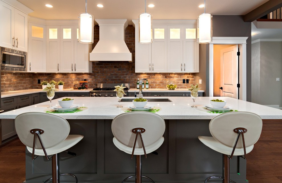 Kitchen - contemporary kitchen idea in Vancouver with shaker cabinets and stainless steel appliances