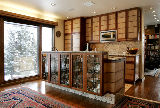 Frank lloyd wright influence asian kitchen chicago for Asian kitchen cabinets design