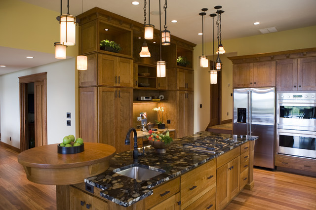 Frank Lloyd Wright Inspired Home Traditional Kitchen