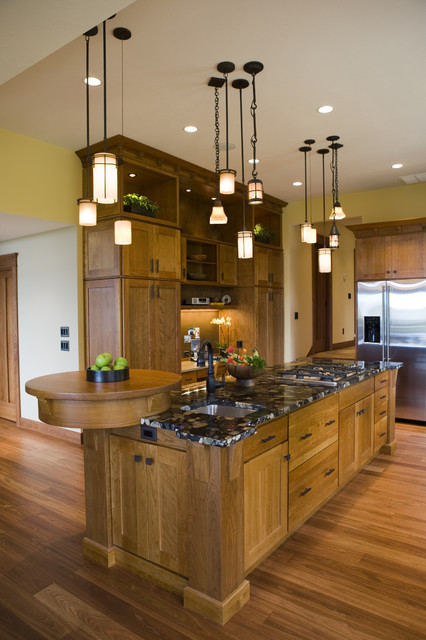 Frank Lloyd Wright Inspired Home traditional-kitchen