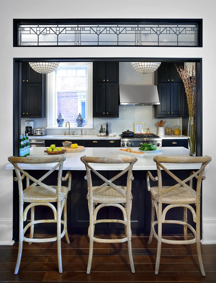 Enclosed kitchen - traditional galley dark wood floor enclosed kitchen idea in Toronto with shaker cabinets, black cabinets, white backsplash, mosaic tile backsplash, stainless steel appliances and no island
