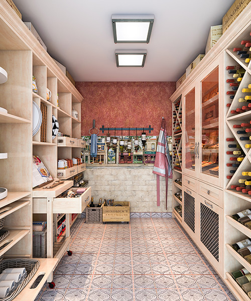 French Bistro Style Walk In Pantry Mediterranean