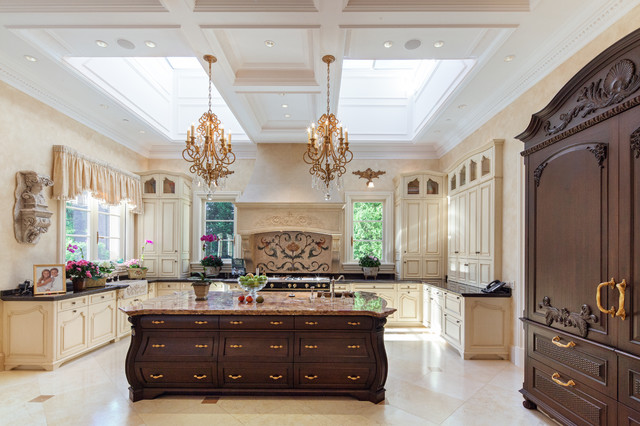 French Chateau Kitchen with antique island, Skylights, Wood Millwork ...