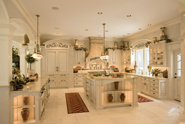 photo of a large mediterranean l shaped eat in kitchen in philadelphia with an - Kitchen In French