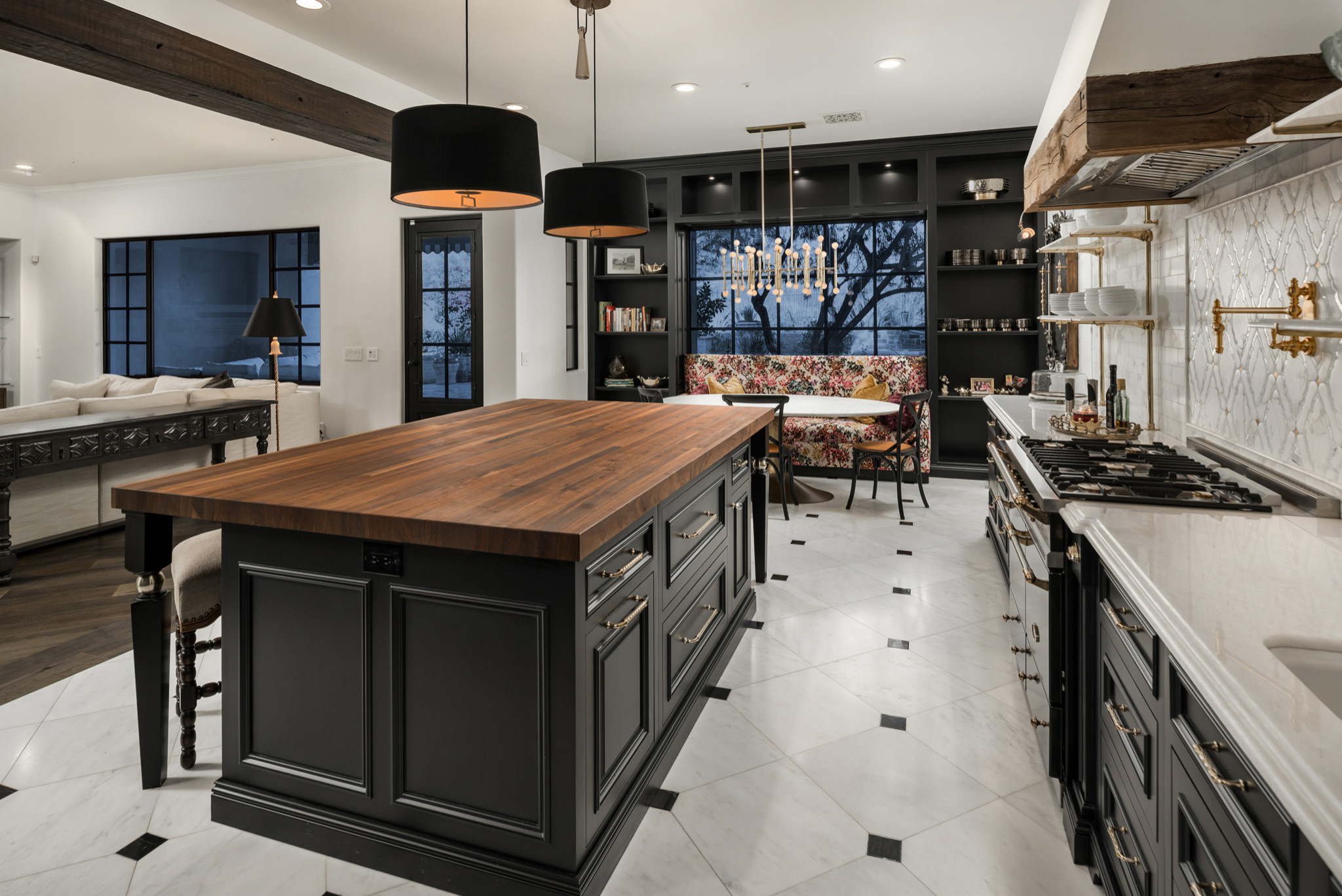 75 Beautiful Marble Floor Kitchen With Black Cabinets Pictures Ideas December 2020 Houzz