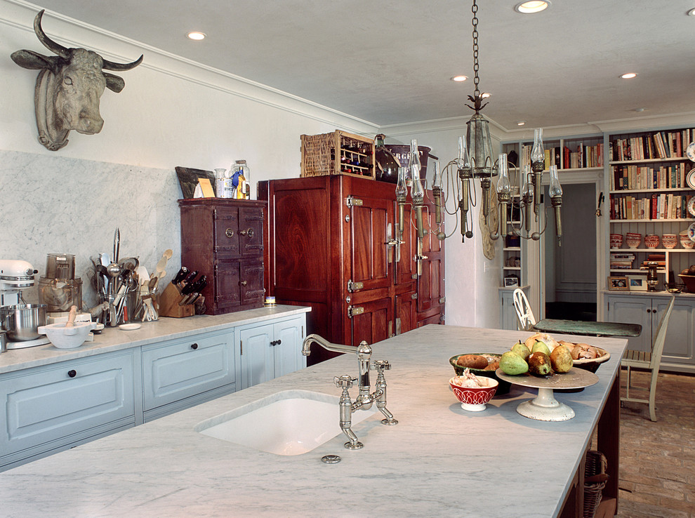 Example of a french country kitchen design in Philadelphia with marble countertops, a single-bowl sink, white backsplash and stone slab backsplash