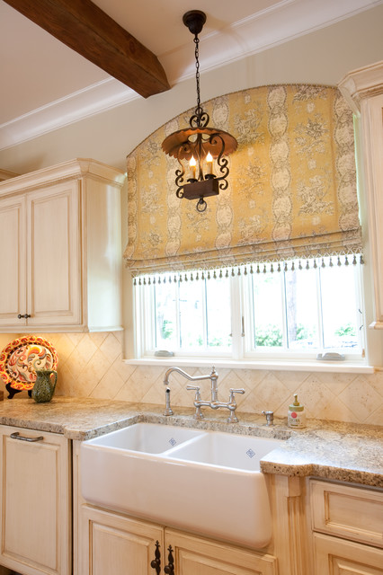 French country traditional kitchen houston by for Traditional kitchen curtains