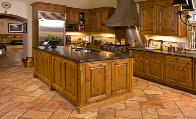 French country rustic kitchen chicago by kitchen for Country kitchen flooring