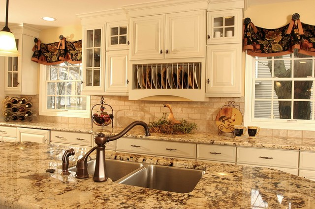 French Country Kitchen Island Traditional Kitchen Chicago By