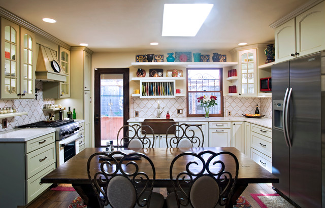 Example Of An Eclectic U Shaped Eat In Kitchen Design In Austin With A