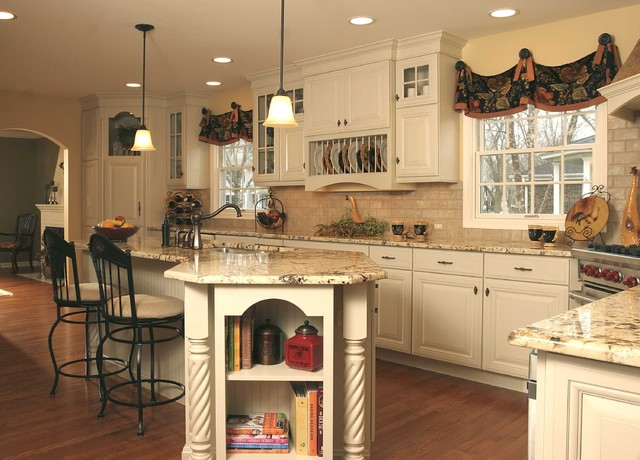 french country kitchen with angled penninsula - traditional