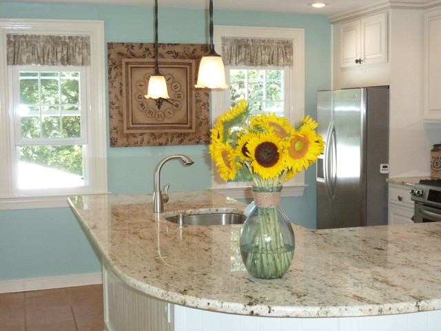 French Country Kitchen with Colonial Gold Countertops traditional-kitchen