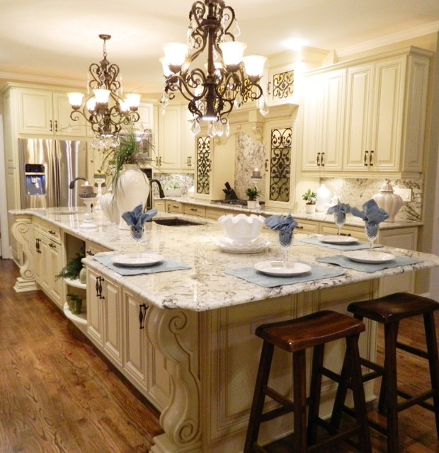 French Country Kitchen With Decorative Island And Persa Pearl Granite With A Ful American Traditional Kitchen Atlanta By Rj Custom Designs Houzz