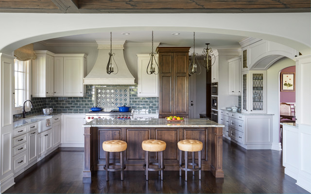 French Country Kitchen With White And, French Country White Kitchen Cabinets