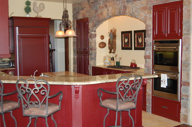 French Country Red Kitchen Mediterranean San