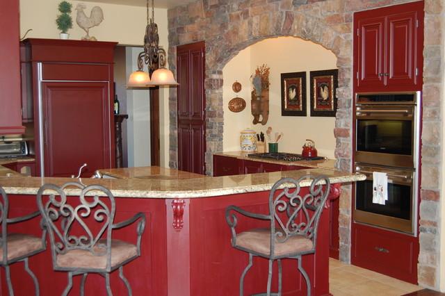 French Country Red Kitchen Mediterranean Kitchen San