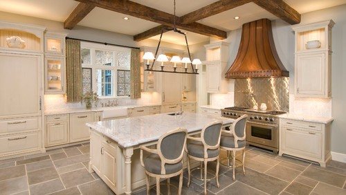 French country kitchen with Carrara marble