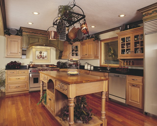 French Country style Hickory Kitchen Traditional