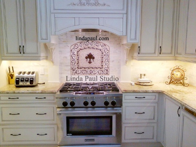 French Country White Kitchen With Fleur De Lis Medallion Backsplash Traditi
