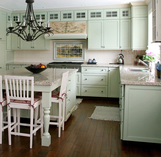 French Landscape Mural In Cottage Kitchen Design Traditional Kitchen