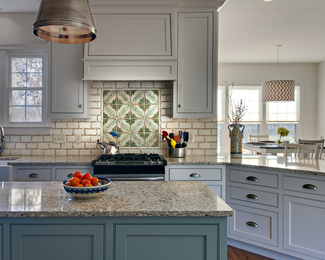 French Provincial Style Backsplash Rustic Kitchen
