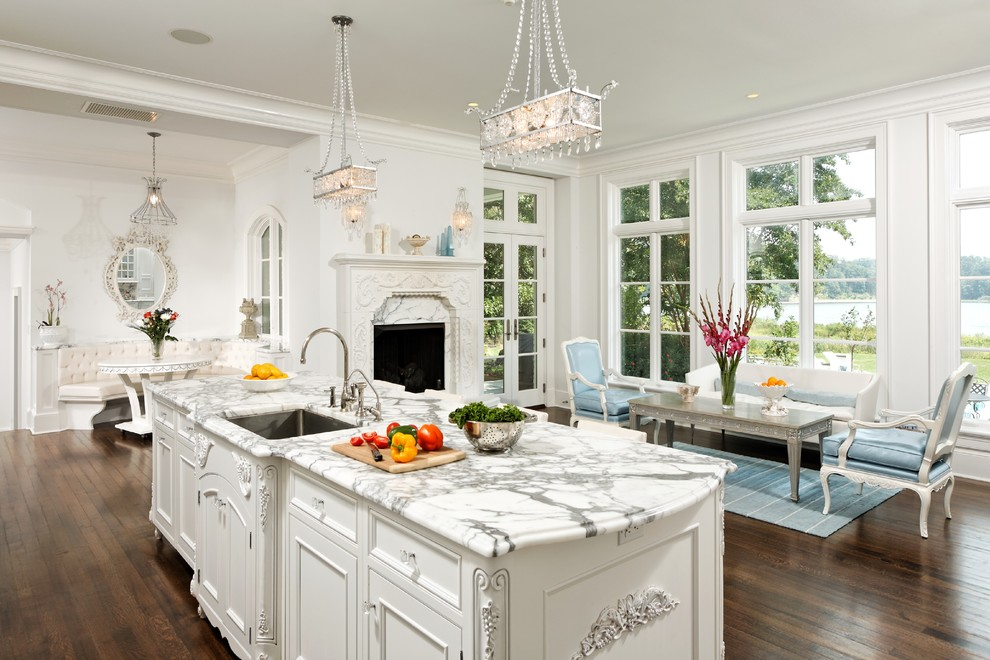 Inspiration for a timeless kitchen remodel in DC Metro with marble countertops, beaded inset cabinets and white cabinets