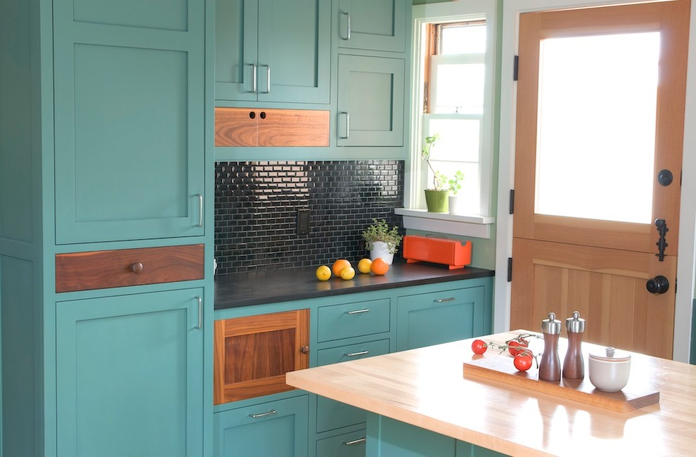 Trendy kitchen photo in Los Angeles with turquoise cabinets, shaker cabinets, black backsplash and mosaic tile backsplash