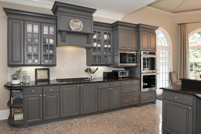 From White Laminate Thermofoil Kitchen Cabinets To Gorgeous Gray  Traditional Kitchen