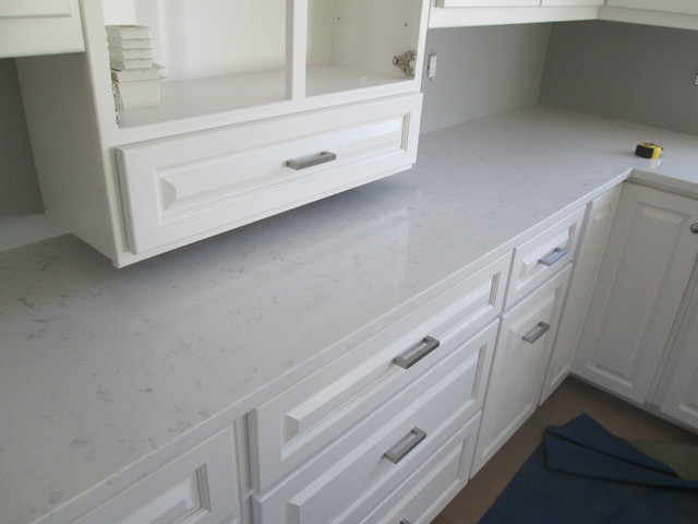 Frosty Carrina Quartz Countertops Traditional Kitchen