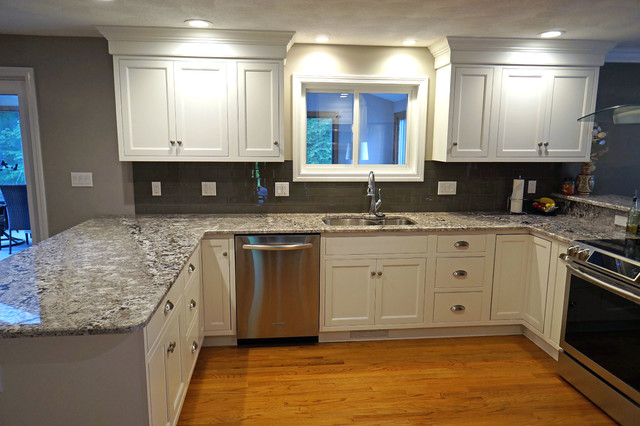 frosty white beaded inset kitchen in milford traditional kitchen - Beaded Inset Kitchen Decor