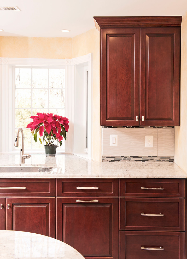 Full Custom Reface Cherry Kitchen With Contrast Islands In Phoenix Md Traditional Kitchen Baltimore By Kitchen Saver