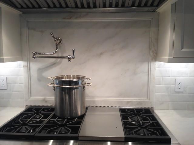 full height backsplash with custom cut subway tile traditional kitchen