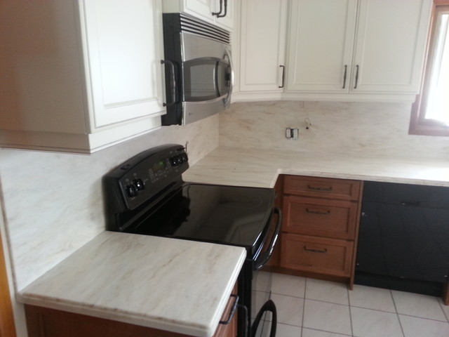 Full Height Corian Backsplash - Traditional - Kitchen - Toronto - by ...