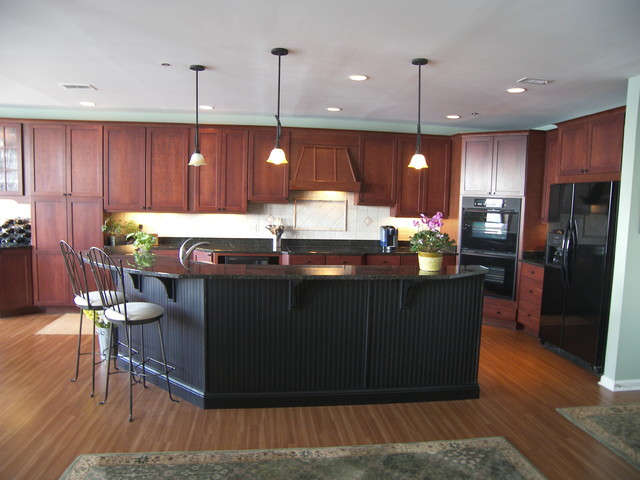 Full Size Kitchen Remodel With Black Granite And Walnut Cabinets
