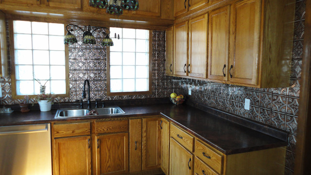 Captivating Full Wall Tin Traditional Kitchen