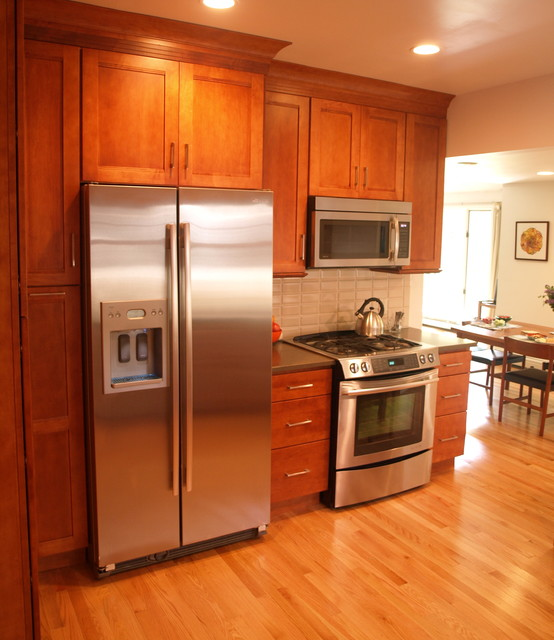 Kitchen Built In Cabinets: Fully Enclosed Refrigerator For The Built-in Look