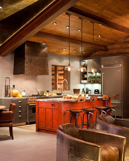 Modern lighting in log cabin kitchen