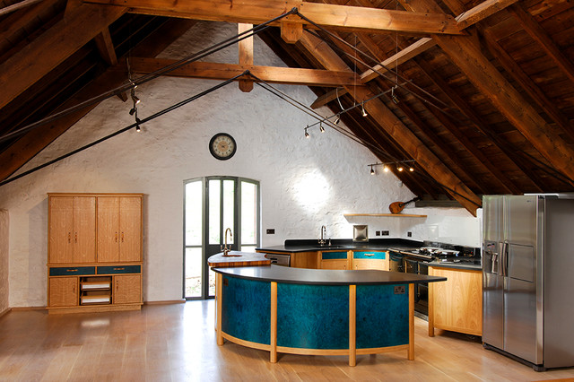 Funky Contemporary Kitchen In Listed Barn Conversion