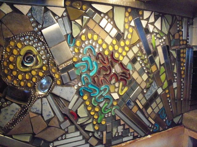 funky mosaic backsplash eclectic kitchen