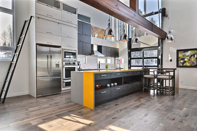 Example Of A Mid Sized Trendy Galley Medium Tone Wood Floor Open Concept Kitchen  Design Part 47