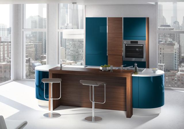 GaÏa Galbe bleu canard - Modern - Kitchen - montreal - by Mobalpa