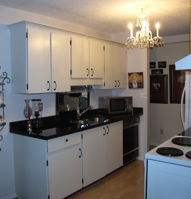 Galley kitchen after low budget traditional kitchen for Small galley kitchen makeovers budget
